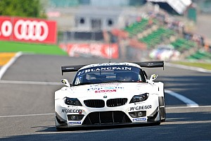 Seven BMW Z4 GT3s line up at the Spa-Francorchamps 24 Hours.