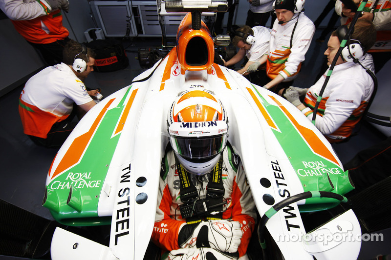 Sutil took his turn to test the VJM06 on Barcelona's third day