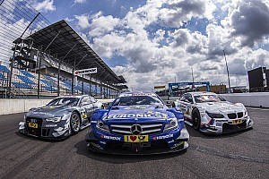 DTM drivers hand over donation cheques to Meissen, Prina and Herzberg