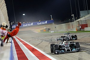Lewis Hamilton beats his teammate under the floodlights of Bahrain