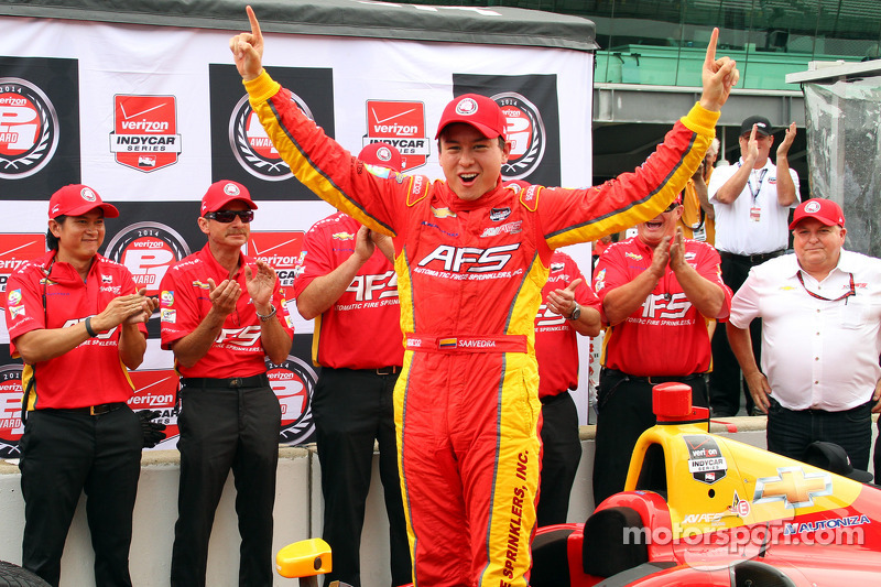 Saavedra splashes to pole position for Grand Prix of Indianapolis