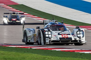 Porsche 919 Hybrids on top speed at the foot of Mount Fuji