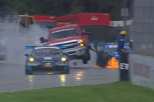 Track worker hospitalized after post-race crash, Aston strikes safety truck