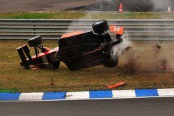Philipp Eng rolls violently, Formula 2 Oschersleben 2009