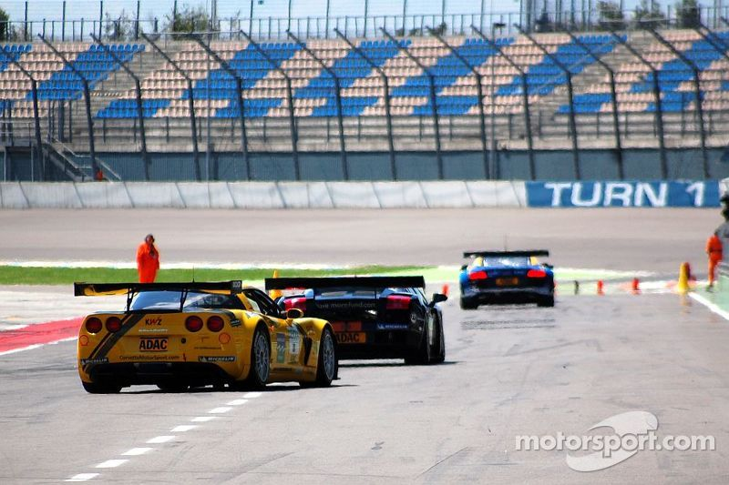 Three cars leaving pit-road, ADAC GT Masters EuroSpeedway 2010