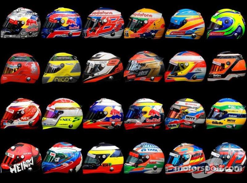 2012 F1 drivers helmets
