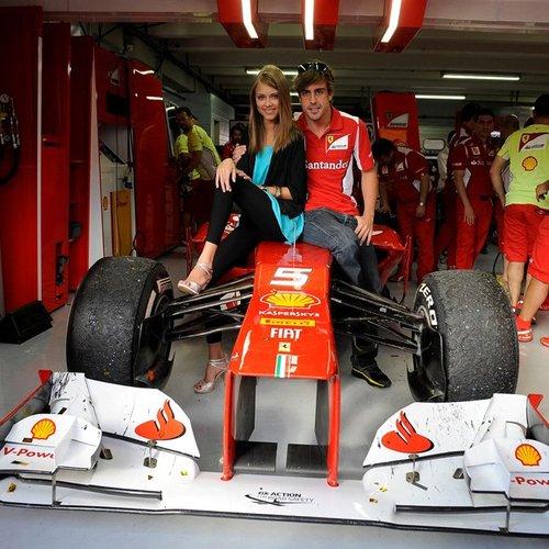 Dasha Kapustina and Fernando Alonso at the German Grand Prix