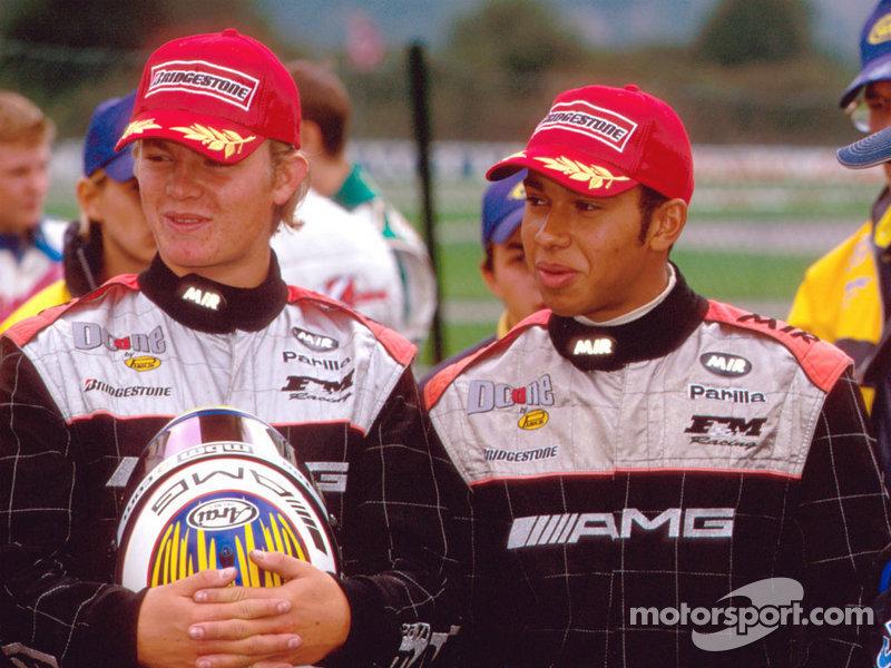 Lewis Hamilton & Nico Rosberg in AMG racesuits