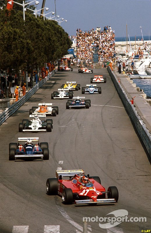 Gilles Villeneuve leads at the Monaco GP in 1981