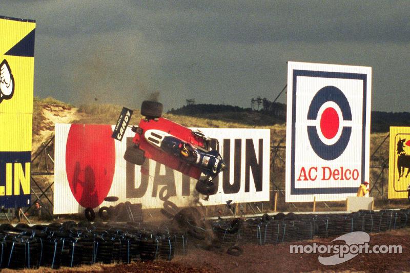 Derek Daly crashes at the 1979 Dutch GP