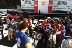 Victory Lane photo op frenzy for AGM supported drivers, Carlos Kauffmann and John Farano.