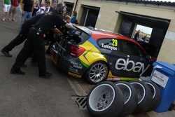 Turkington's car is moved onto the grid