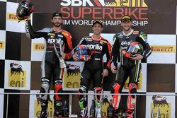 Race 2 podium, Sylvian Guintoli, Marco Melandri, and Tom Sykes