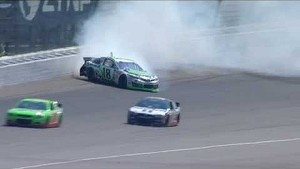 NASCAR Kyle Busch avoids major disaster | Michigan International Speedway (2013)