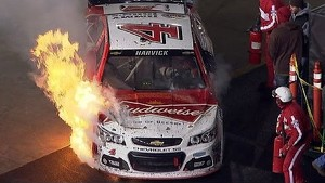 Bristol: Harvick's day goes up in flames
