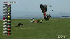 Andrea Iannone Crashes Early - Aragon GP 2014