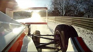 Racing on the snow in an open-wheel on the Nürburgring Nordschleife