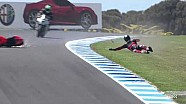 Troy Bayliss highsides on World Superbike return
