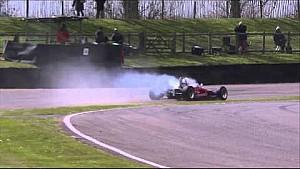 Open wheel car flies over competitor