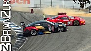 Ferrari 458 GT3 and Cadillac ATS-V.R collide at Laguna Seca